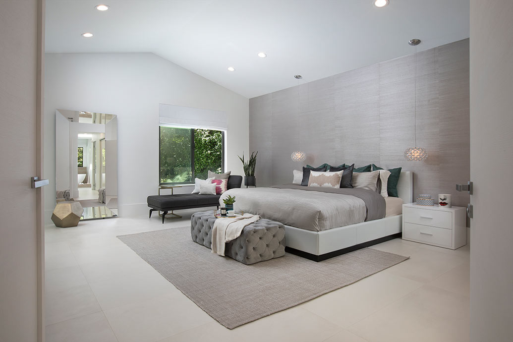 Contemporary Vaulted Ceiling Bedroom - HD Wallpaper