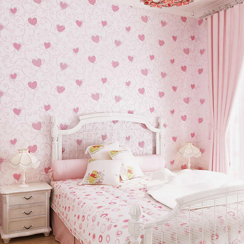 Pink And White Girl Bedroom Design Ideas Heart Wallpaper - Kids Room Girls - HD Wallpaper