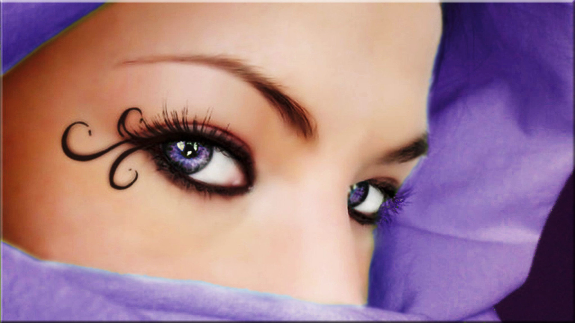 Free Eye High Quality Wallpaper Id - Beautiful Purple Eyed Woman - HD Wallpaper