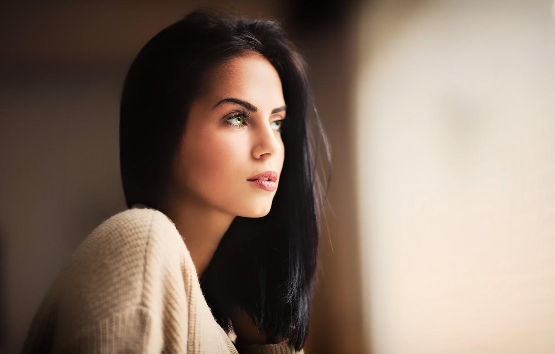 Photo Wallpaper Girl, Green Eyes, Woman, Model, Face, - Girl Black Hair Green Eyes - HD Wallpaper