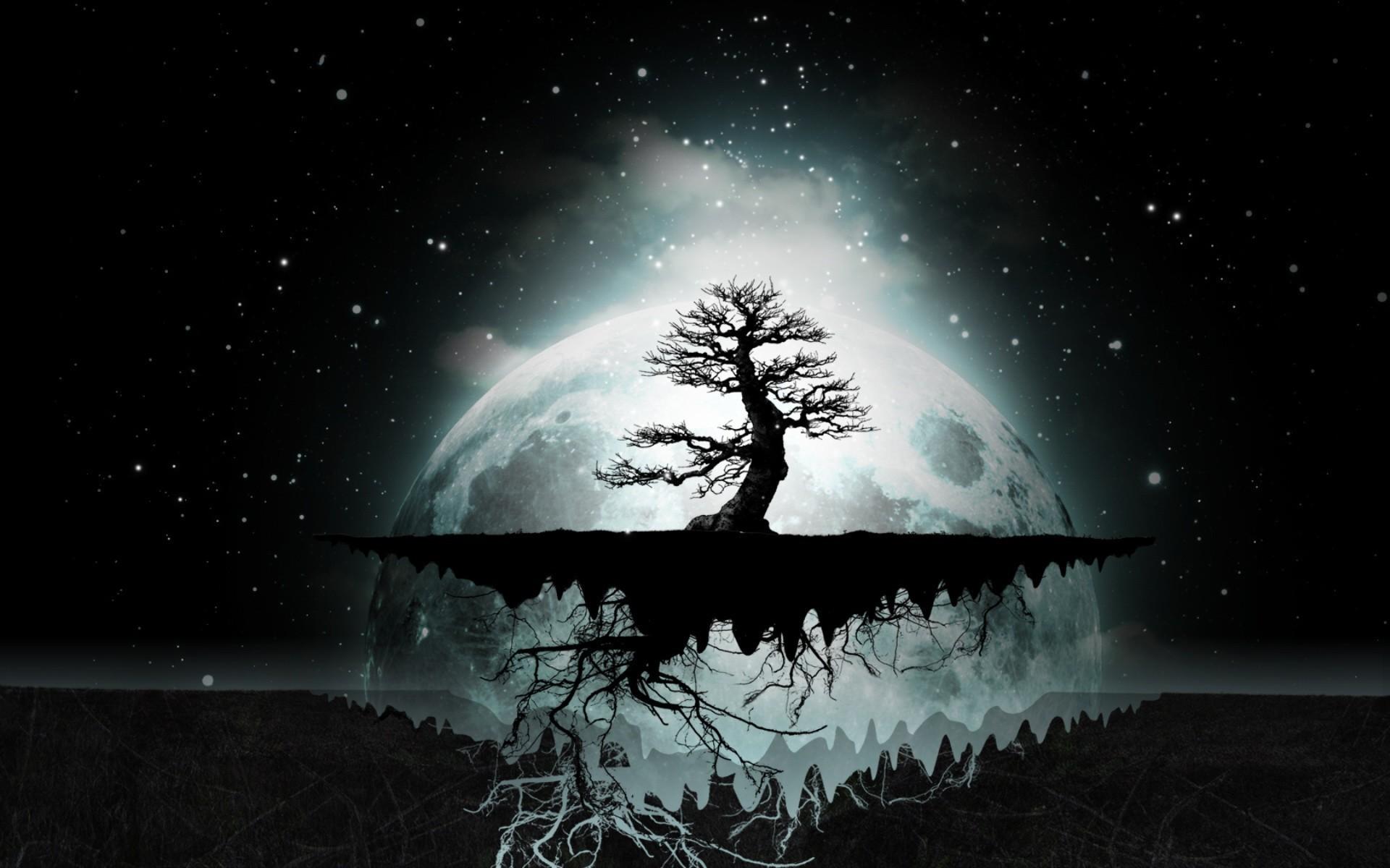 1920x1200, Moon Abstract Artwork Dark Digital Art Wallpaper - Tree Of Life Computer Background - HD Wallpaper