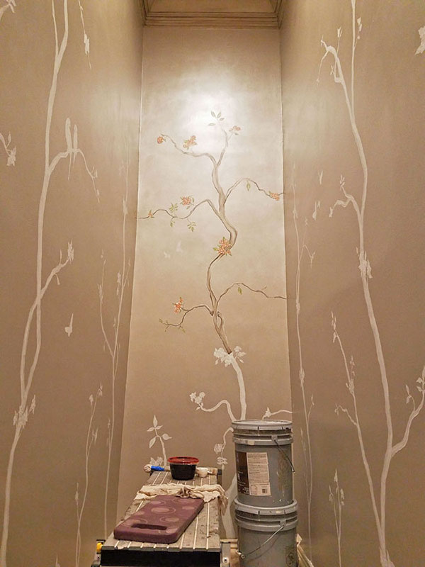 Adding Metallic Paint Glazes To An Ongoing Chinoiserie - Wall - HD Wallpaper