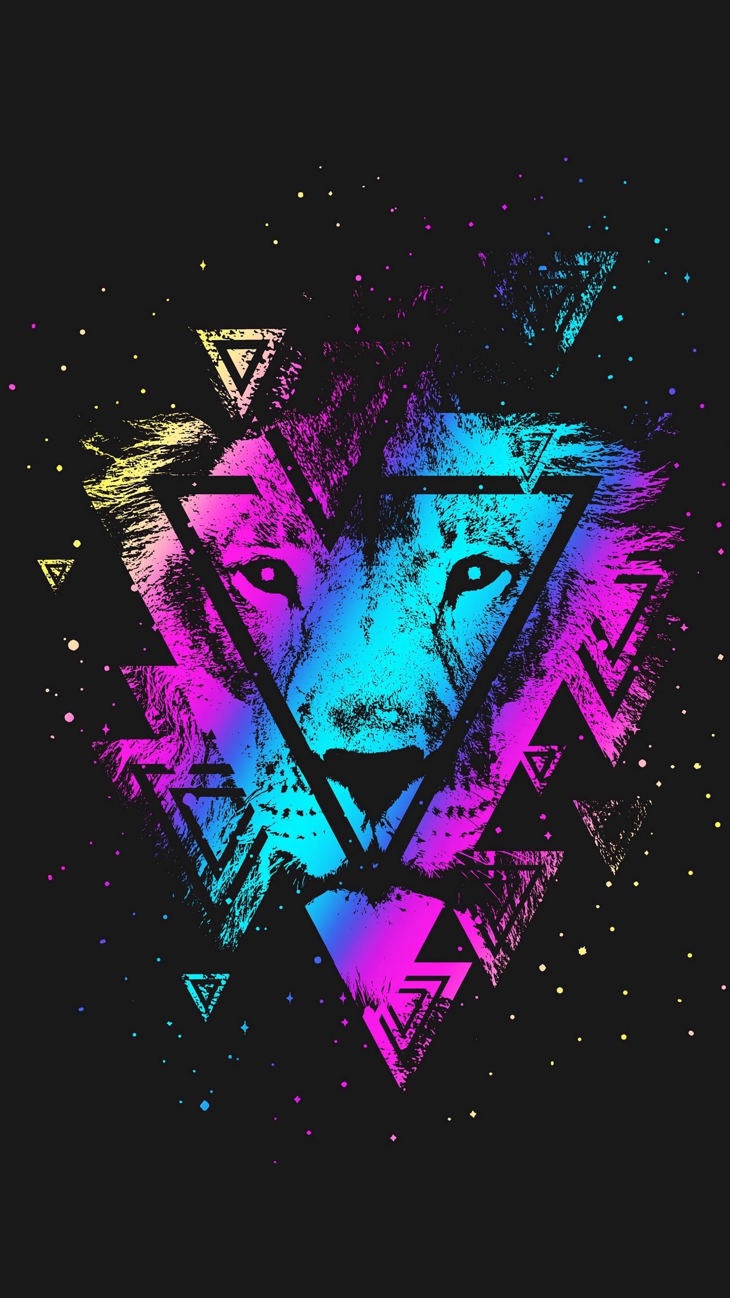 Wallpaper Lion, Colorful, Triangle, Art, Muzzle - Colorful Lion Hd Wallpaper Iphone - HD Wallpaper