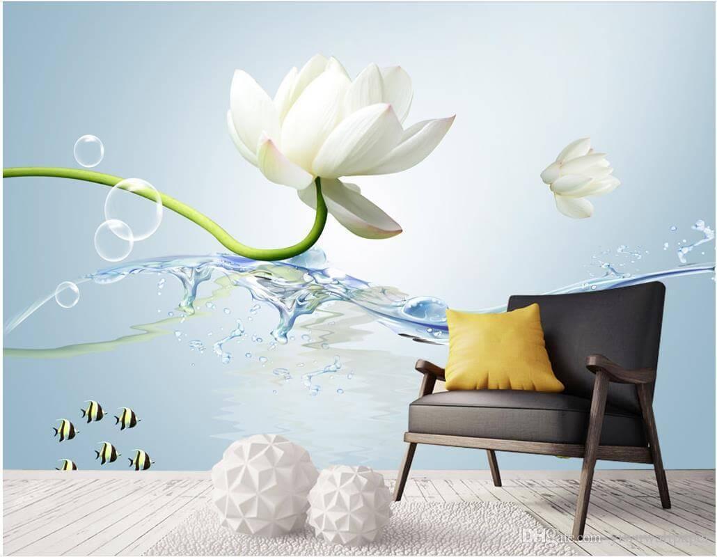 Flower Wall - Modern Wallpaper For Living Room - HD Wallpaper
