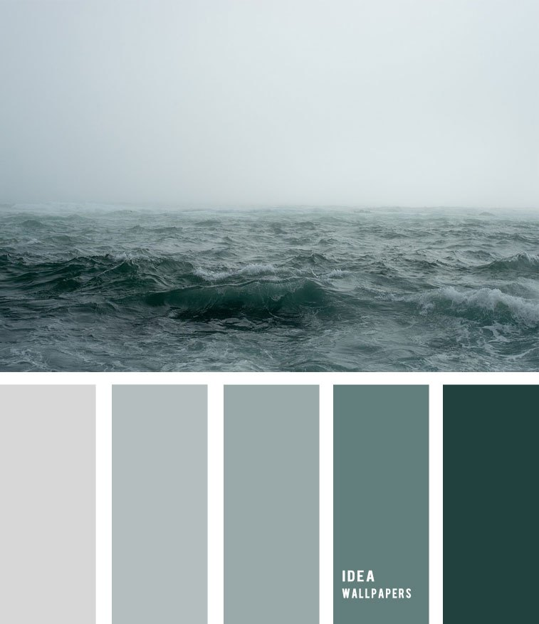 Sea Fog And Grey Green Ocean Inspired Color Palette, - Teal Grey Color Palette - HD Wallpaper