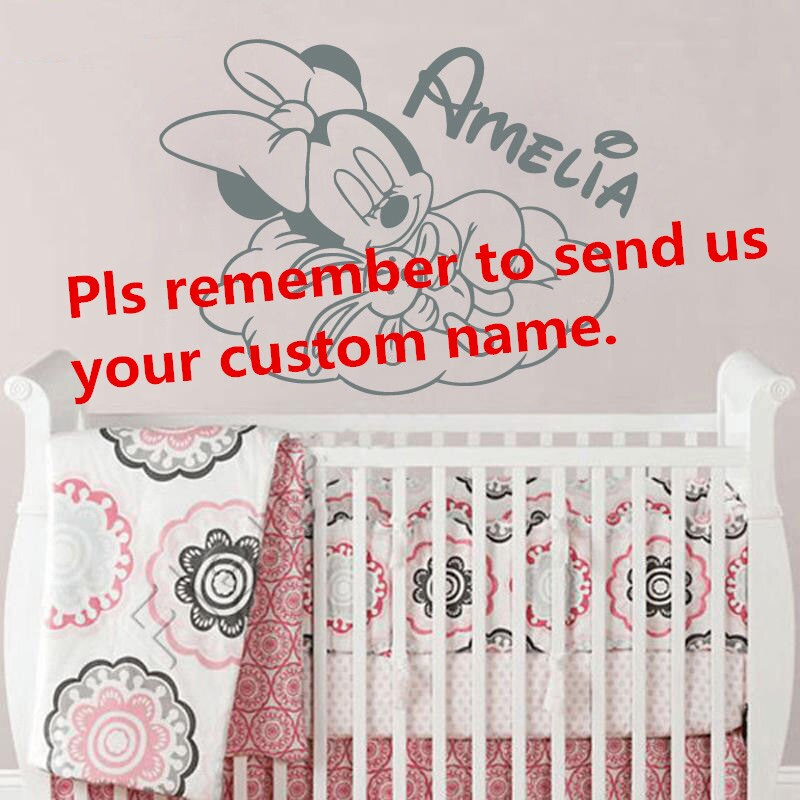 Custom Name Wall Decal Minnie Mouse Vinyl Wall Stickers - Baby Room Ideas Girl Pandas - HD Wallpaper