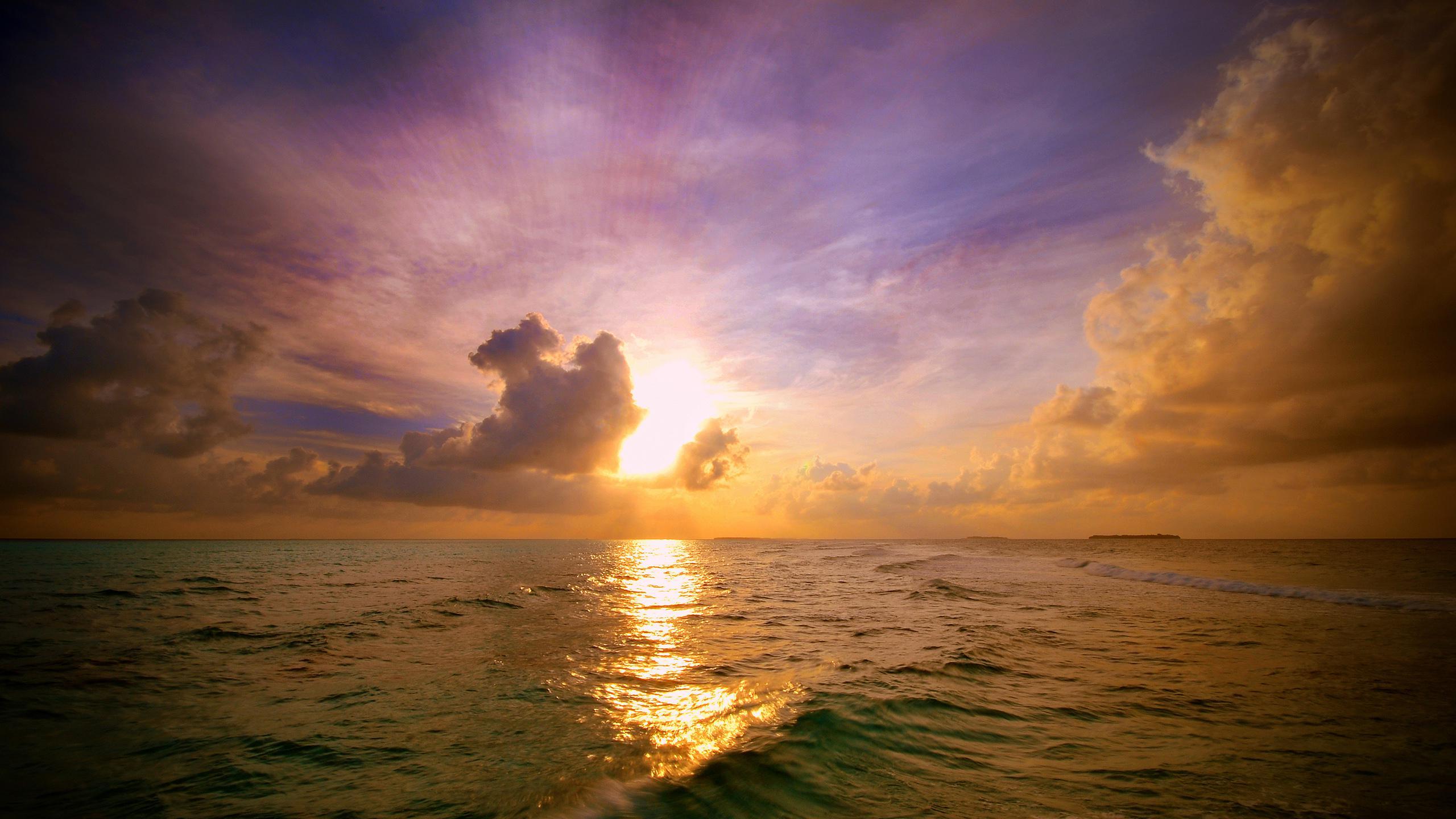 Hd Sunset Clouds Sea Background Images Wallpaper - Beautiful Ocean Sunset - HD Wallpaper