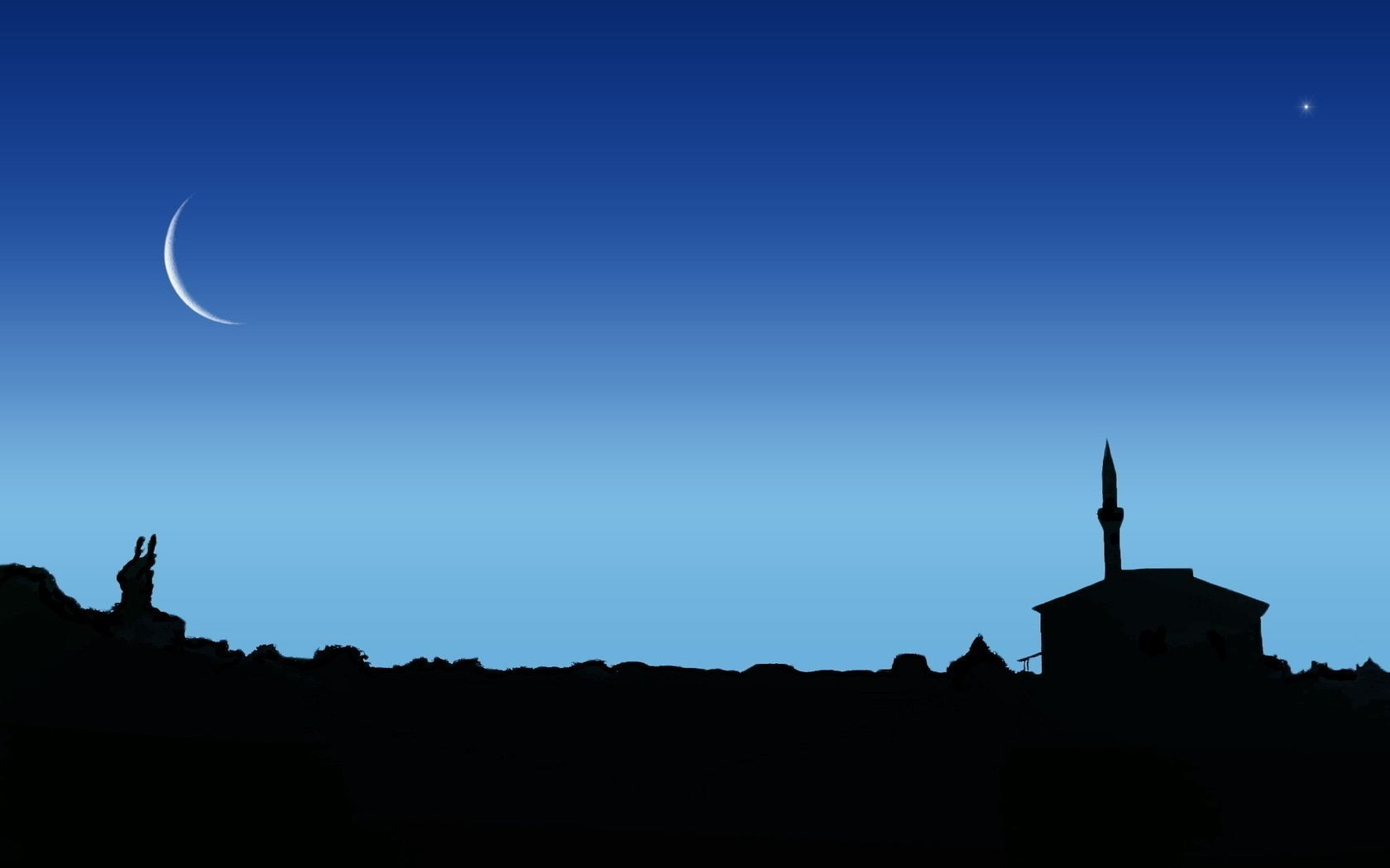 Items Silhouette Sky Moon Sunset Backlit Evening Dawn - Night Sky And Mosque - HD Wallpaper