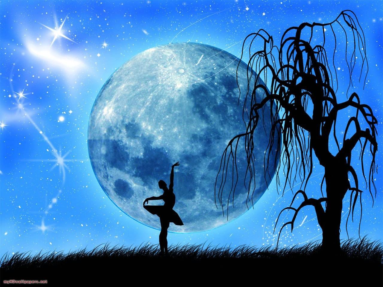 Beautiful Romantic Moonlight Wallpaper - Beautiful Romantic Full Moon - HD Wallpaper