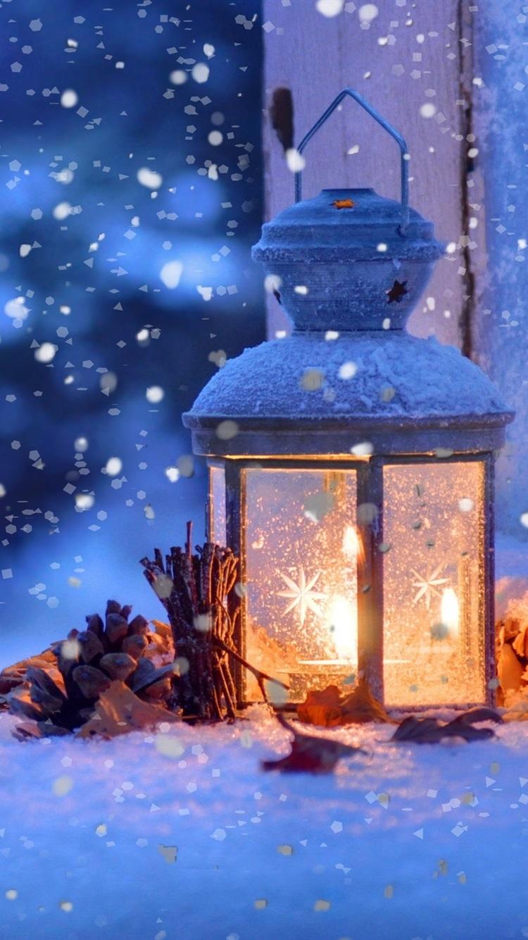 Iphone Wallpaper Christmas Snow Winter Light Snowflakes Lanterns In The Snow 750x1334 Wallpaper Teahub Io