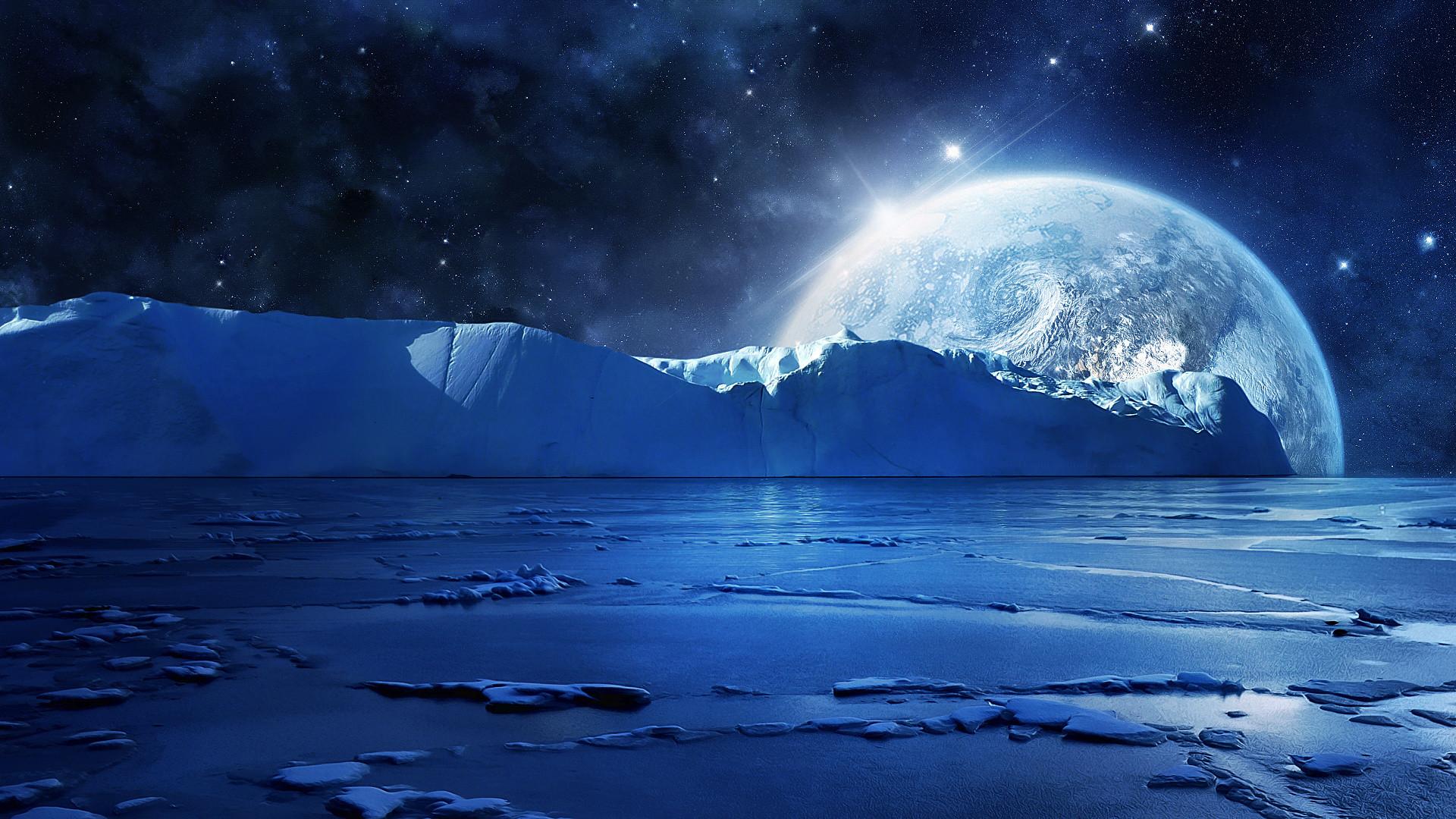 Nightfall Mountain Sea Moon Wallpaper Hd Desktop Wallpapers - Winter Moon Background - HD Wallpaper