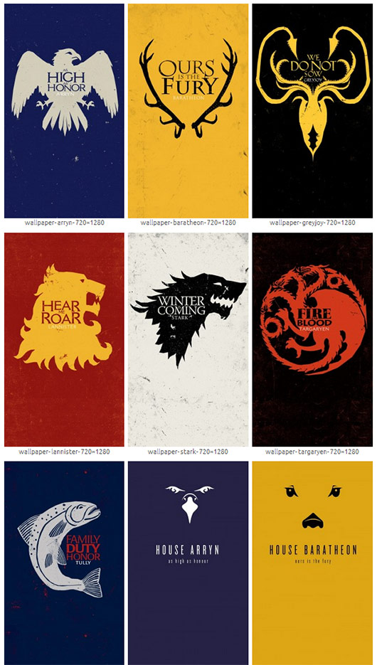 Game Of Thrones Windows Phone Wallpapers - Game Of Thrones Season 8 House Logos - HD Wallpaper