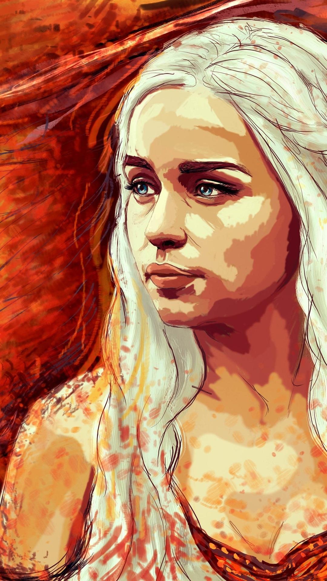 Iphone Wallpaper Game Of Thrones, Emilia Clarke, Art - Emilia Clarke Art Game Of Thrones - HD Wallpaper