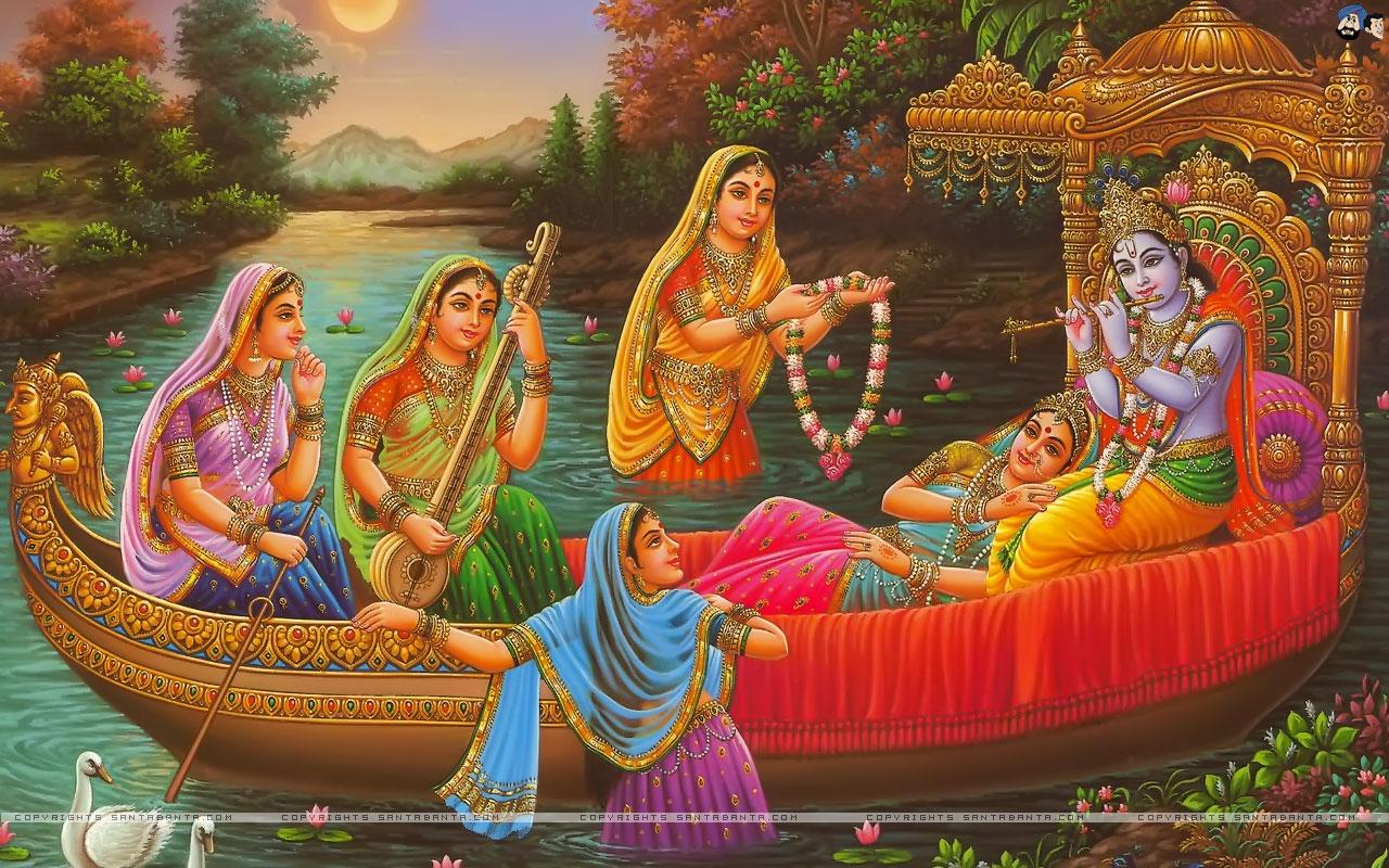 Shri Krishna Wallpaper With Murli - Radha Krishna Leela - HD Wallpaper