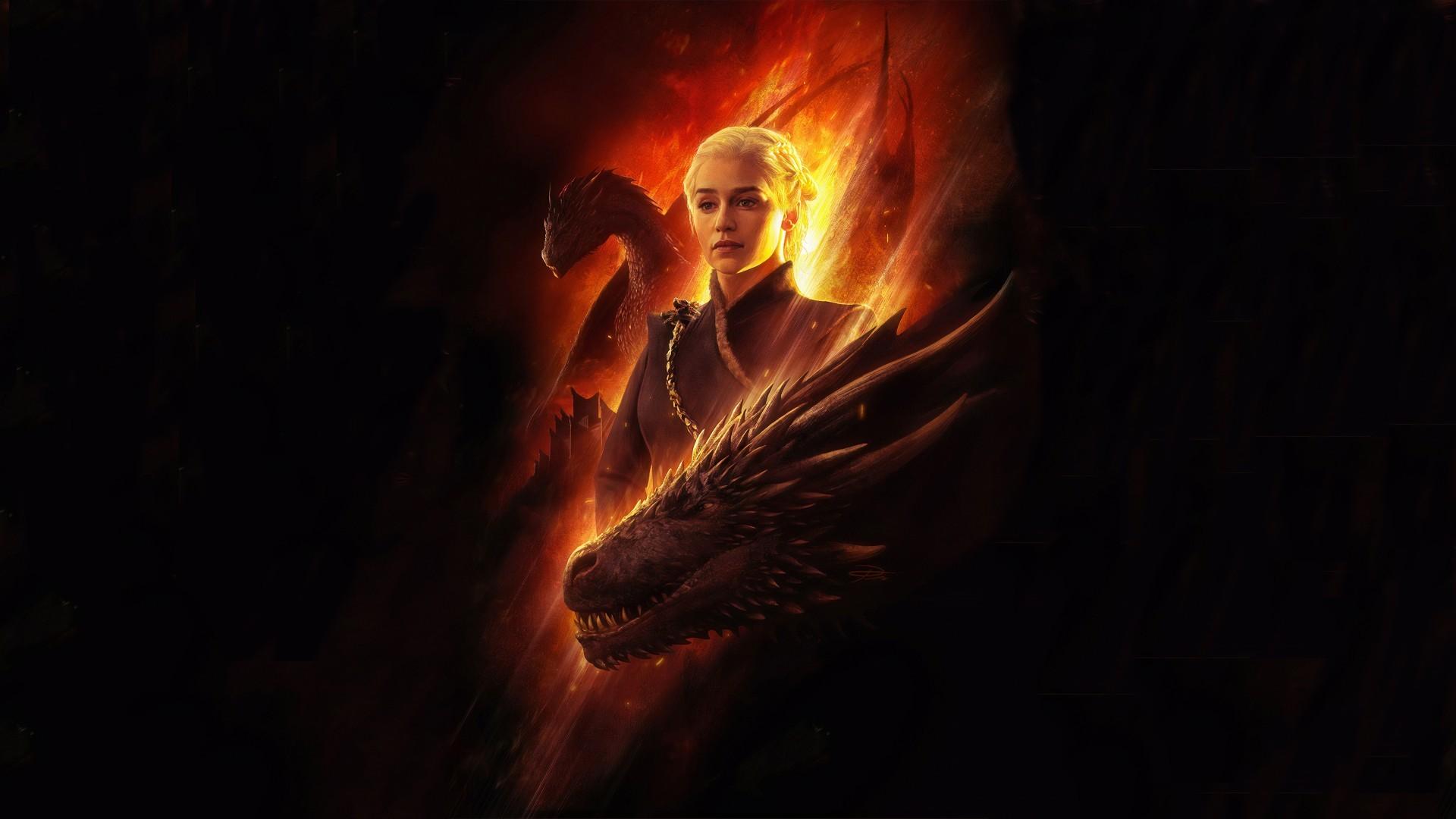 House Targaryen, Game Of Thrones, Flames, Dragon, Artwork, - Daenerys Targaryen Game Of Thrones Wallpaper 4k - HD Wallpaper