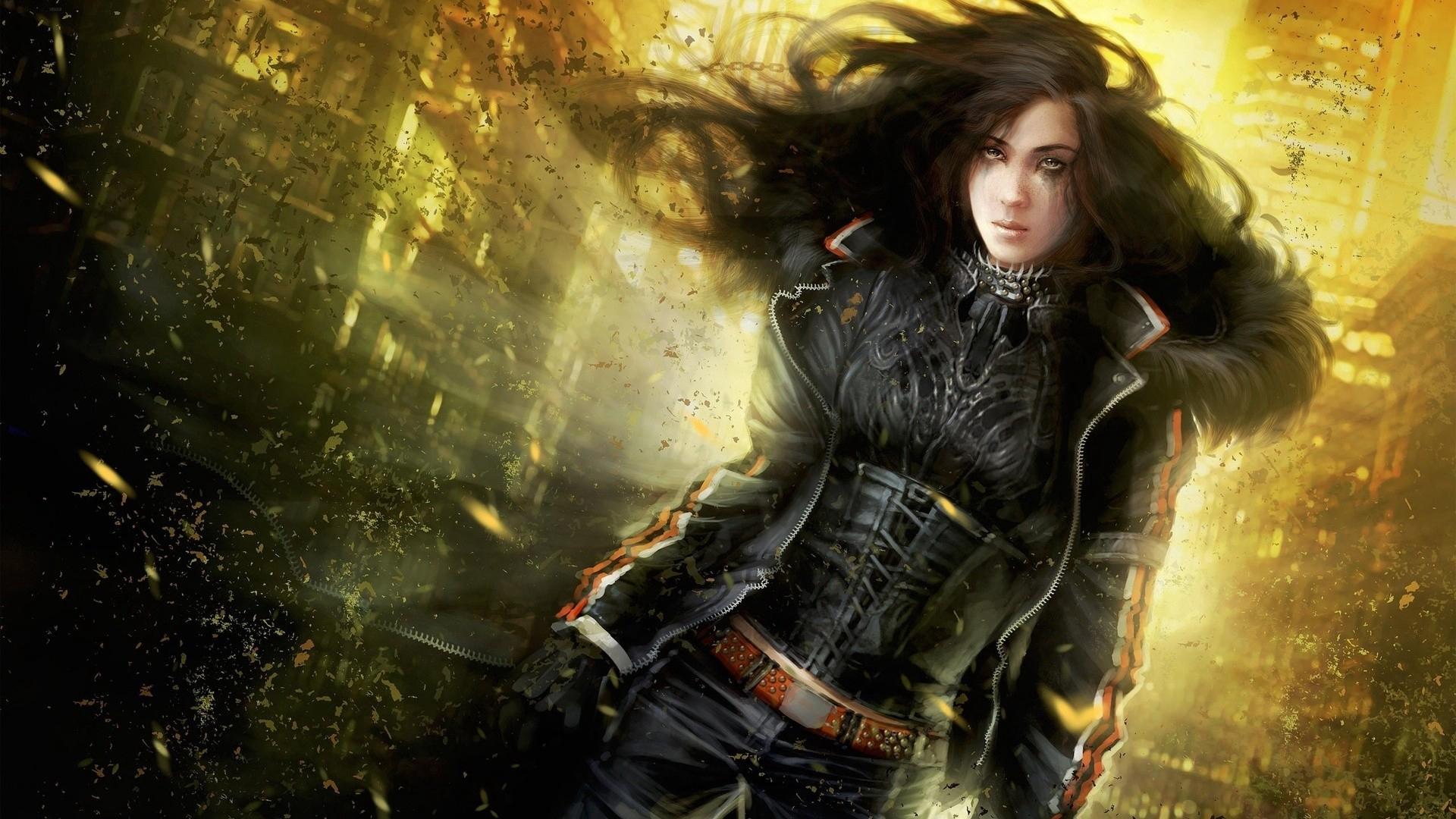Wallpaper Girl, Art, Fantasy Art - Dark Fantasy Woman Warrior - HD Wallpaper