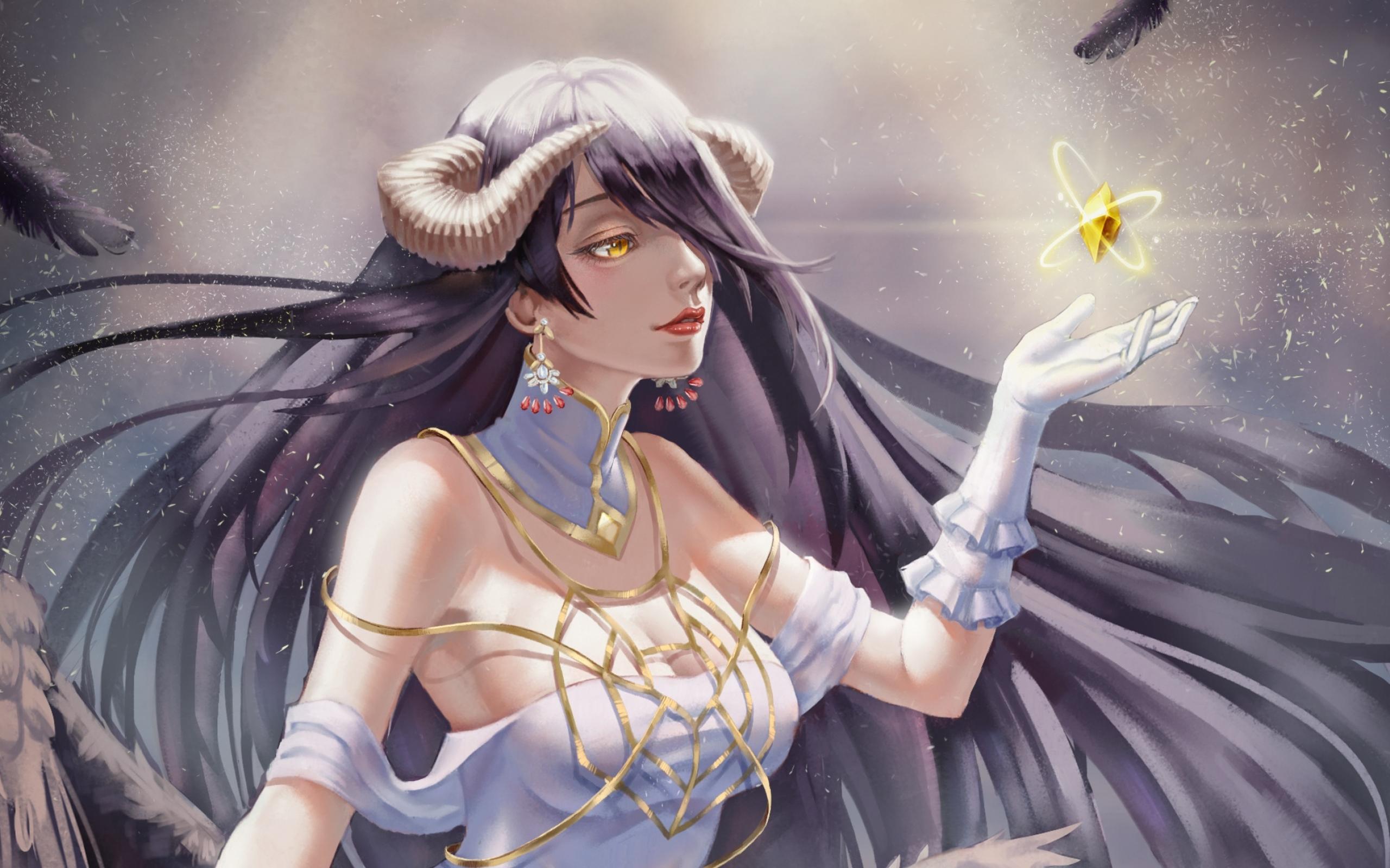 Wallpaper Of Anime Albedo Overlord Art Background Overlord Albedo Anime Backgrounds 2560x1600 Wallpaper Teahub Io