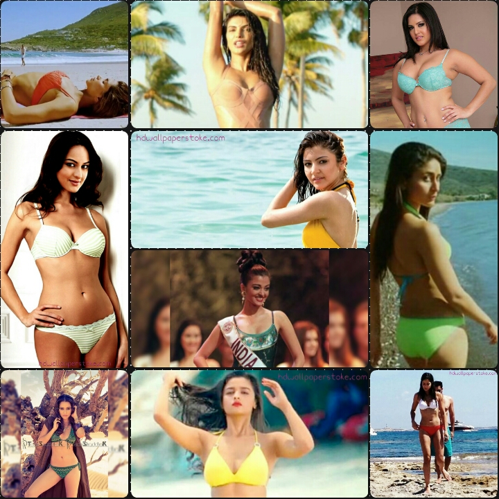 Download Top 10 Hot Bollywood Actress Photos - Bollywood Actress In Bikini Collage - HD Wallpaper