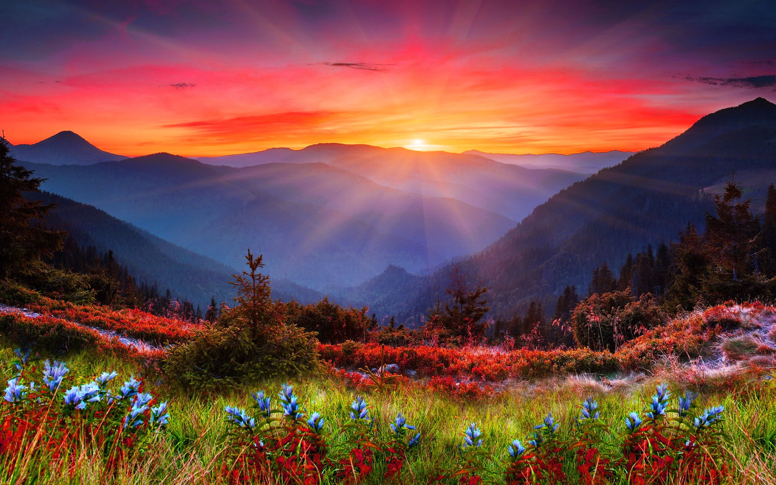 Beautiful Pictures Of Good Morning Wishes - Mountain Sunset - HD Wallpaper