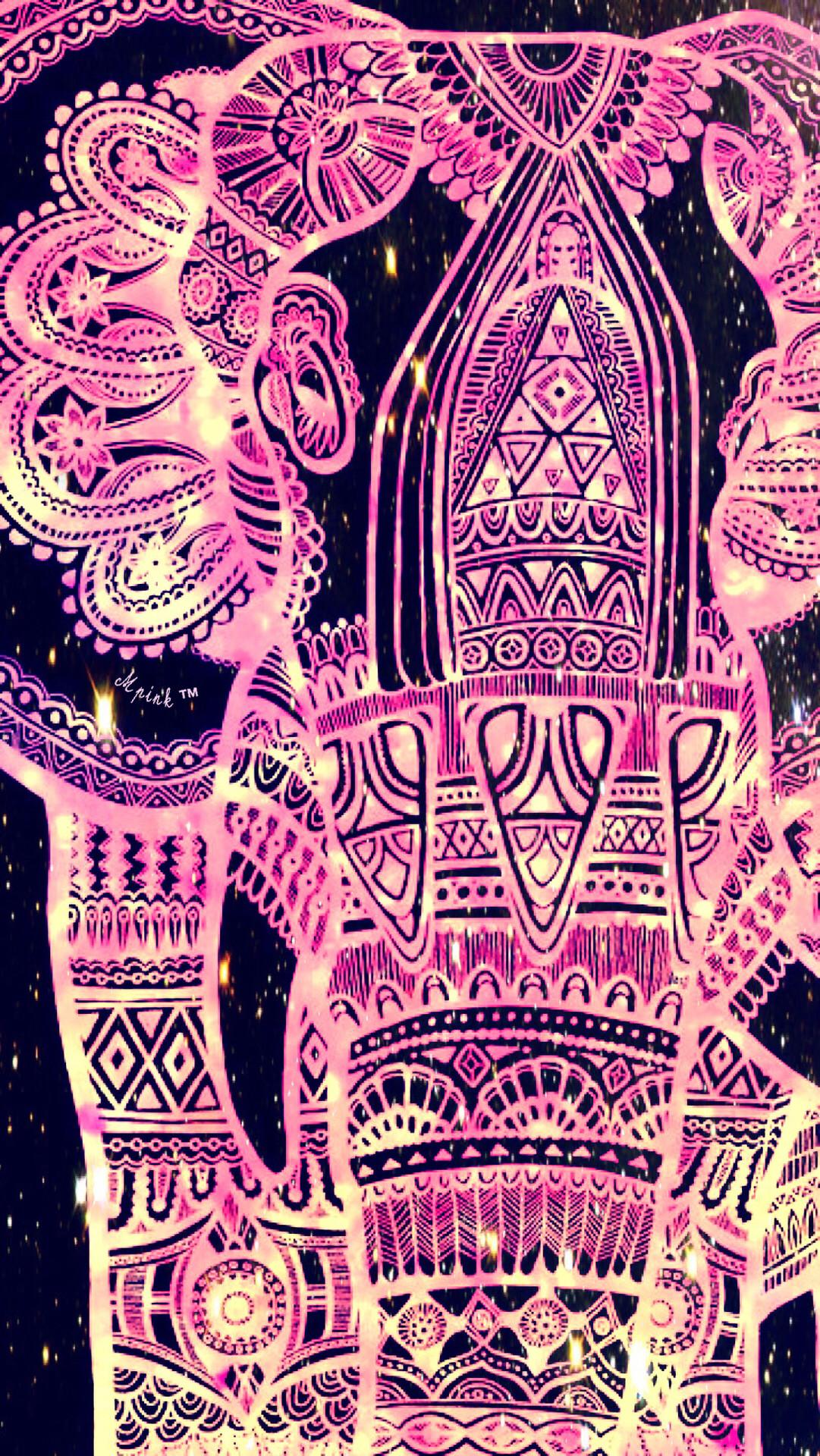 Tribal Pink Elephant Wallpaper/lockscreen Girly, Cute, - Girly Cute Elephant - HD Wallpaper