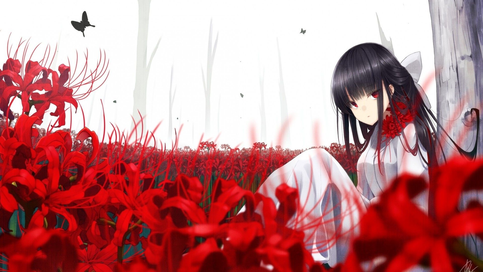Red Eyes Anime Girl Butterfly Flowers Black Hair Red And Black Anime 1920x1080 Wallpaper Teahub Io