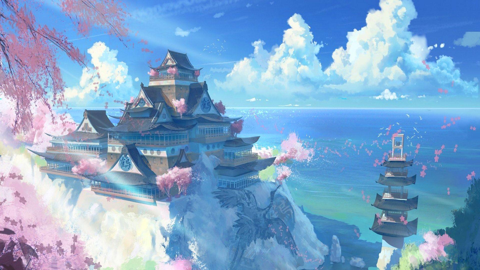 1920x1080, Free Japan Temple Scenery Anime Manga, Computer - Japan Wallpaper Anime - HD Wallpaper