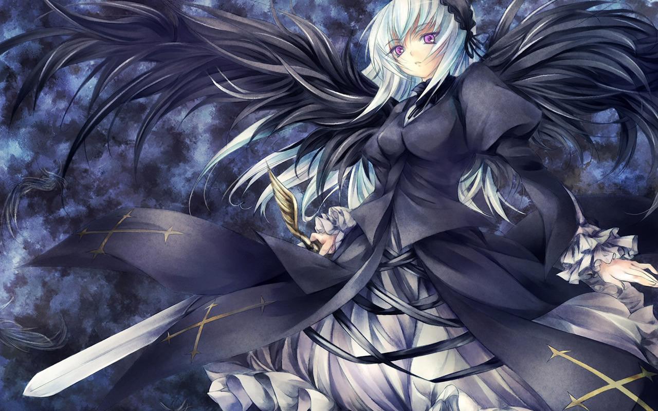 Cute Girl Anime Wallpaper - Beautiful Dark Angel Anime - HD Wallpaper