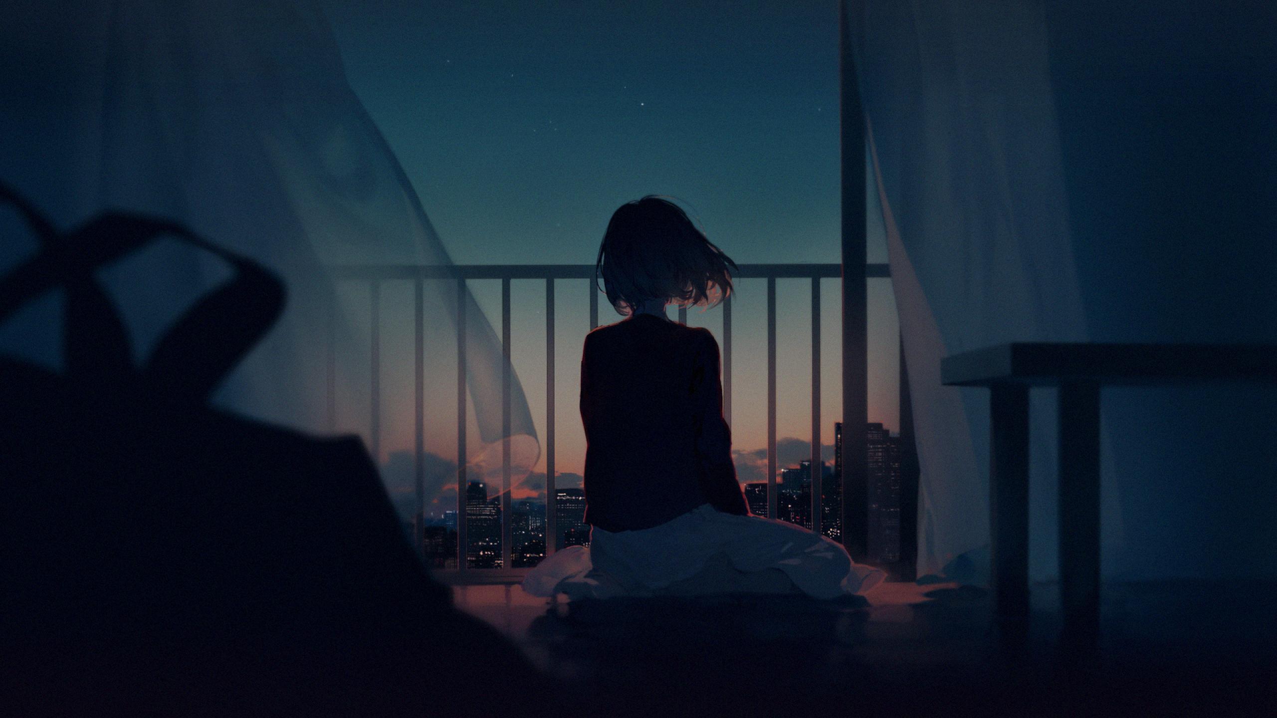 Alone Anime Sad Girl - HD Wallpaper