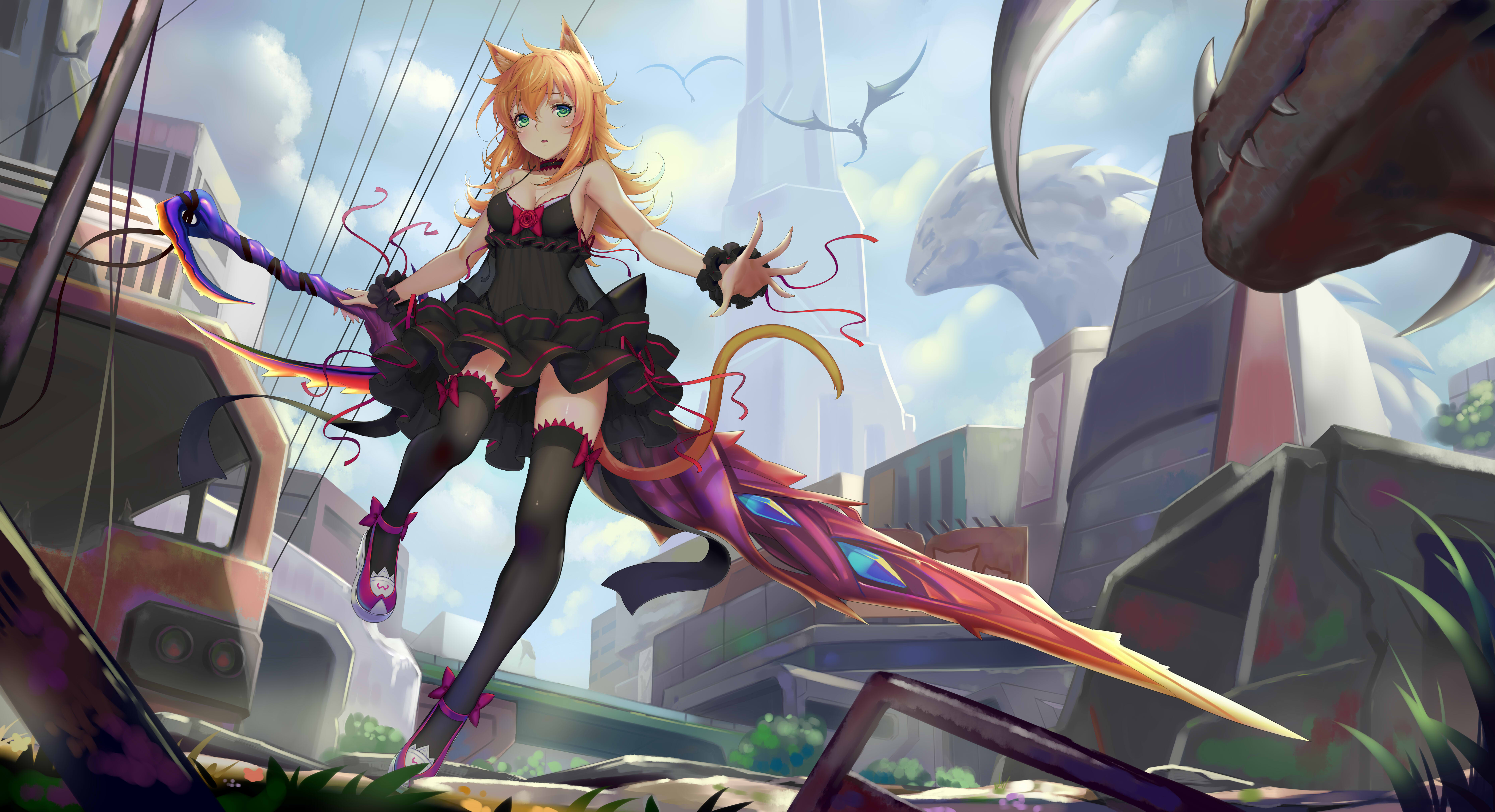Anime Cat Girl With Sword - HD Wallpaper
