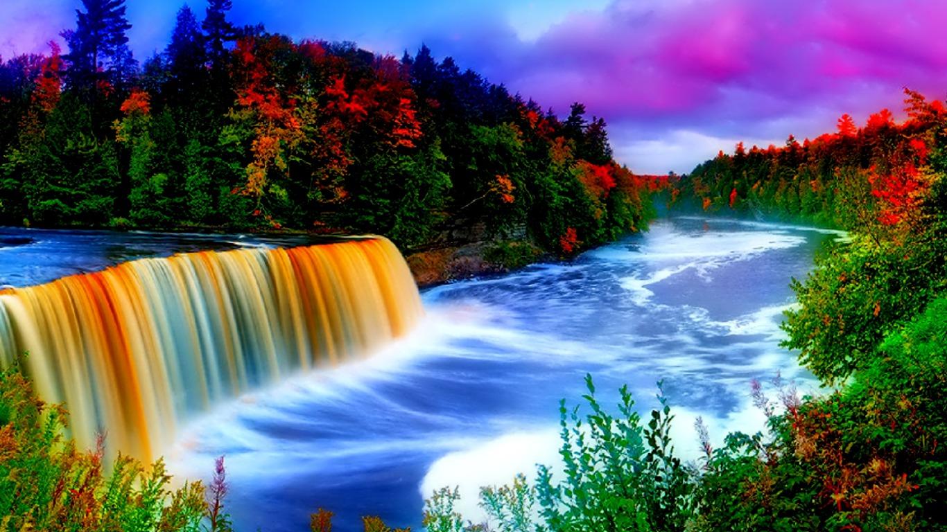 Rainbow Waterfall Computer Wallpapers Desktop Backgrounds Beautiful Waterfall With Rainbow 1366x768 Wallpaper Teahub Io
