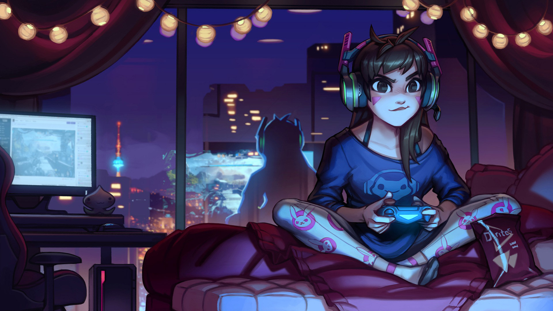 Overwatch Wallpaper In - Anime Girl Playing Video Games - HD Wallpaper
