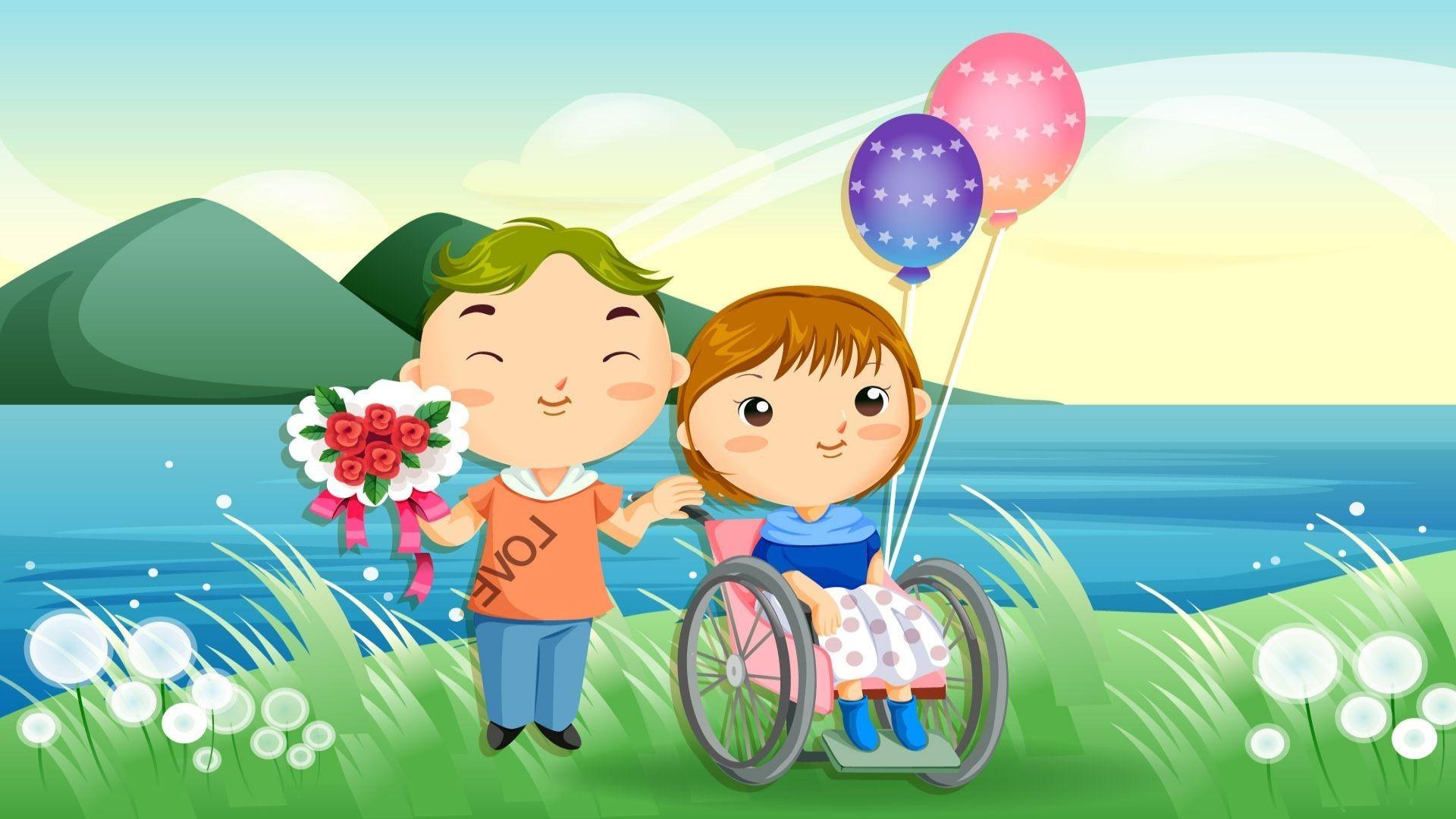 1920x1080, Cute Cartoon Couple Wallpaper - Full Hd Cute Cartoon - HD Wallpaper