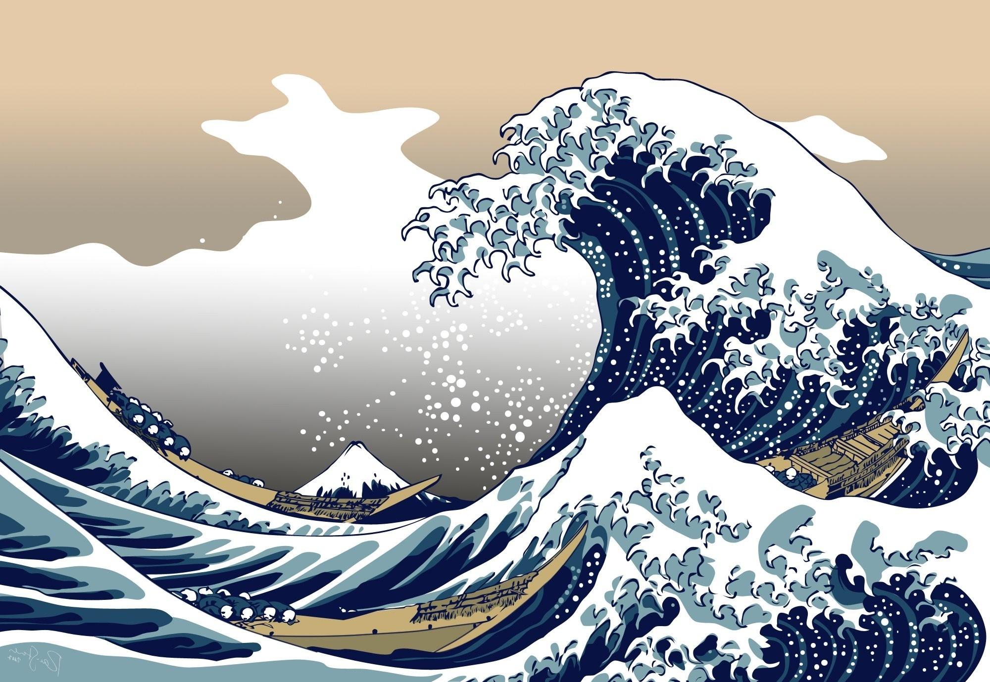 Nature, Blue, The Great Wave Off Kanagawa Wallpapers - Great Wave Off Kanagawa Wallpaper 4k - HD Wallpaper