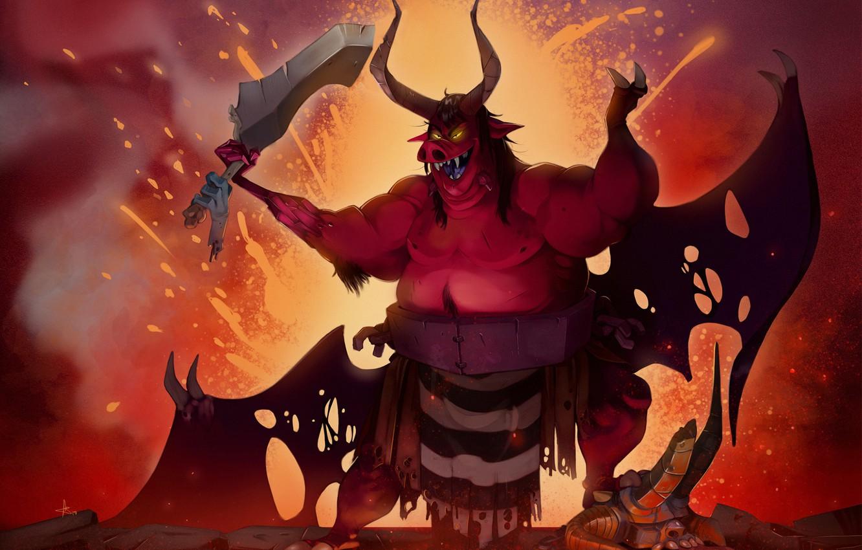 Photo Wallpaper Art, Devil, Illustration, Demon, Characters, - Pig Devil - HD Wallpaper