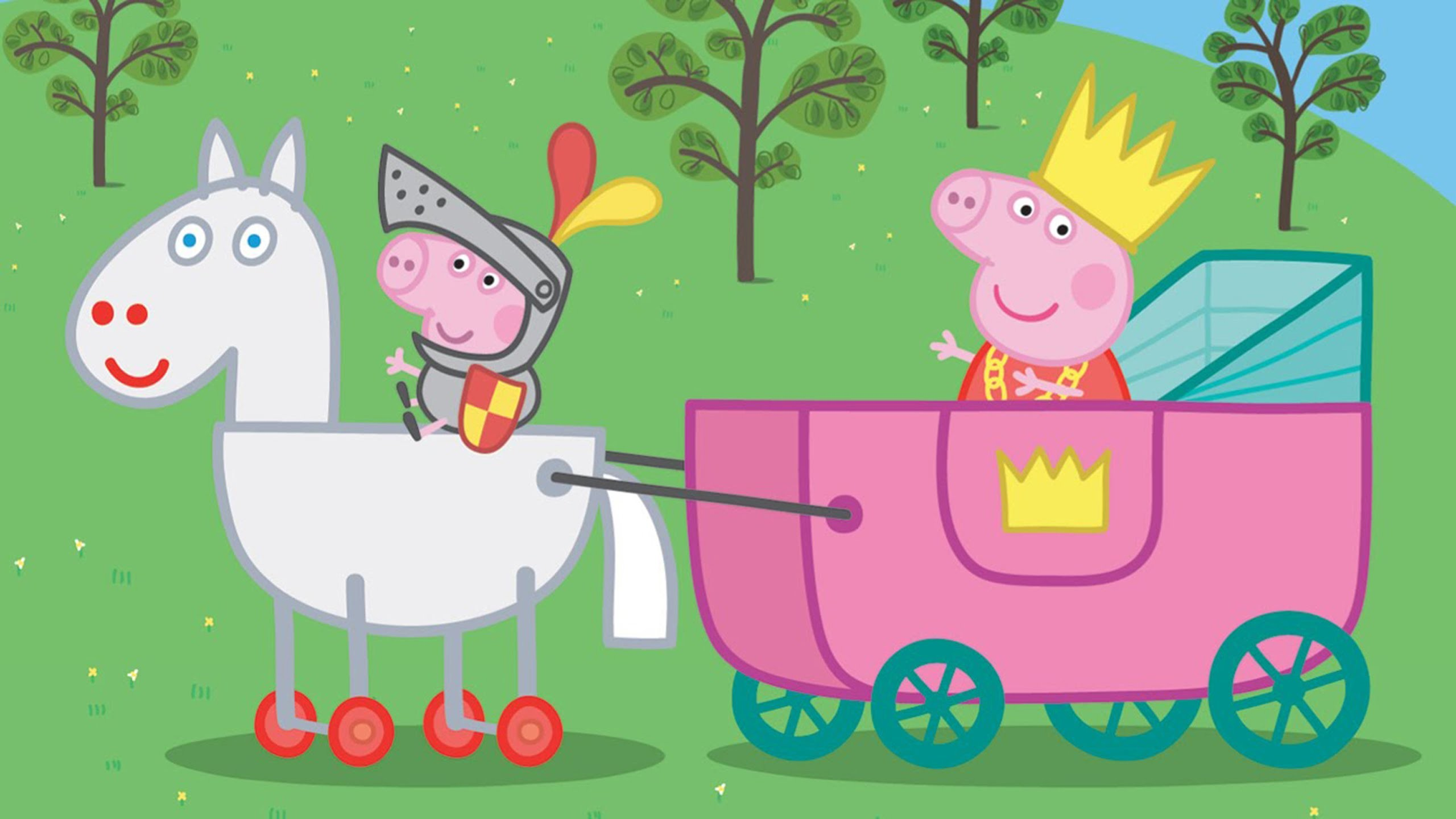 Peppa Pig Coloring Pages For Kids Peppa Pig Coloring Peppa Pig Princess Peppa And Sir George 2560x1440 Wallpaper Teahub Io