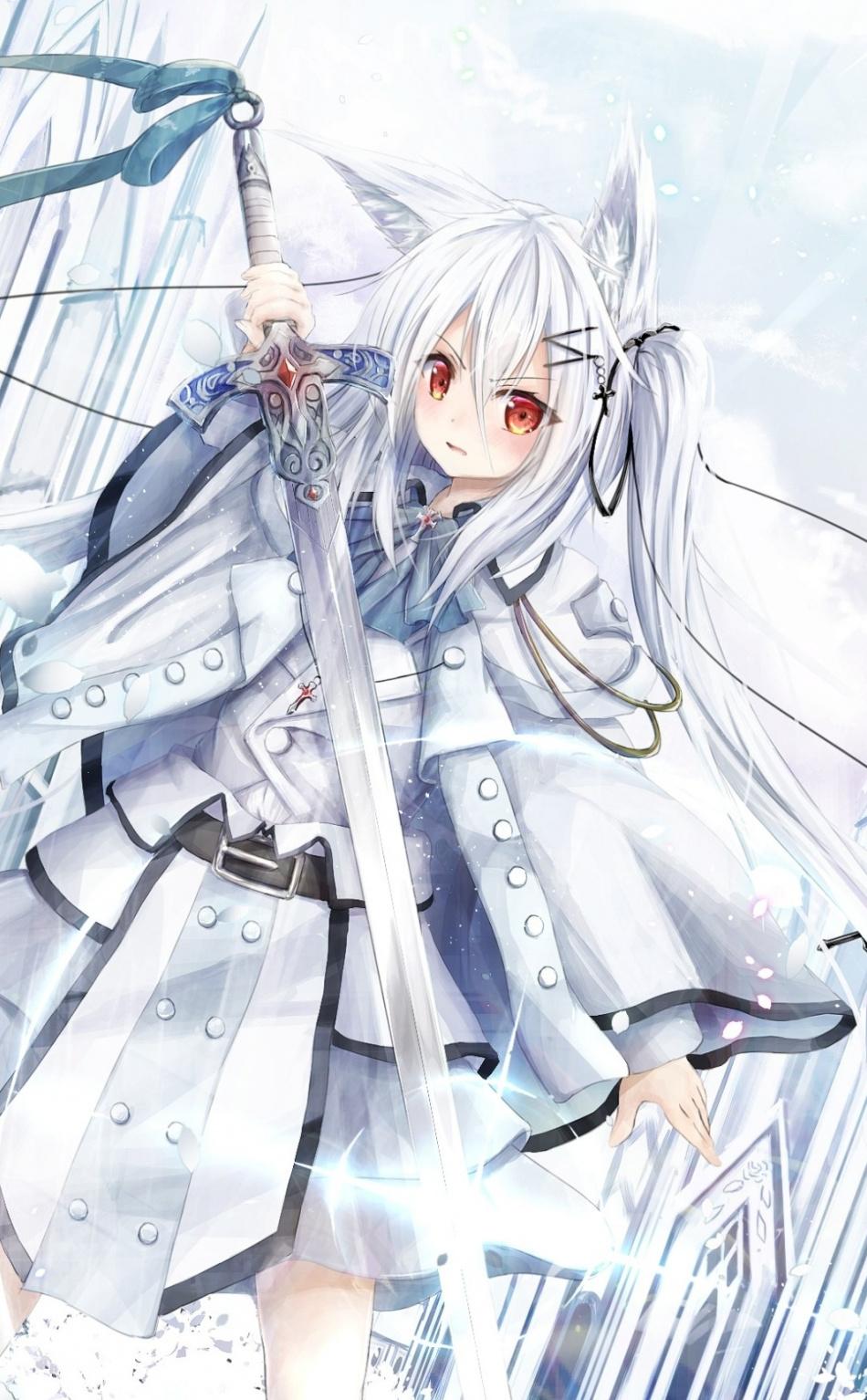 Warrior, Anime Girl, White Hair, Wallpaper - White Hair Anime Girl Fantasy - HD Wallpaper