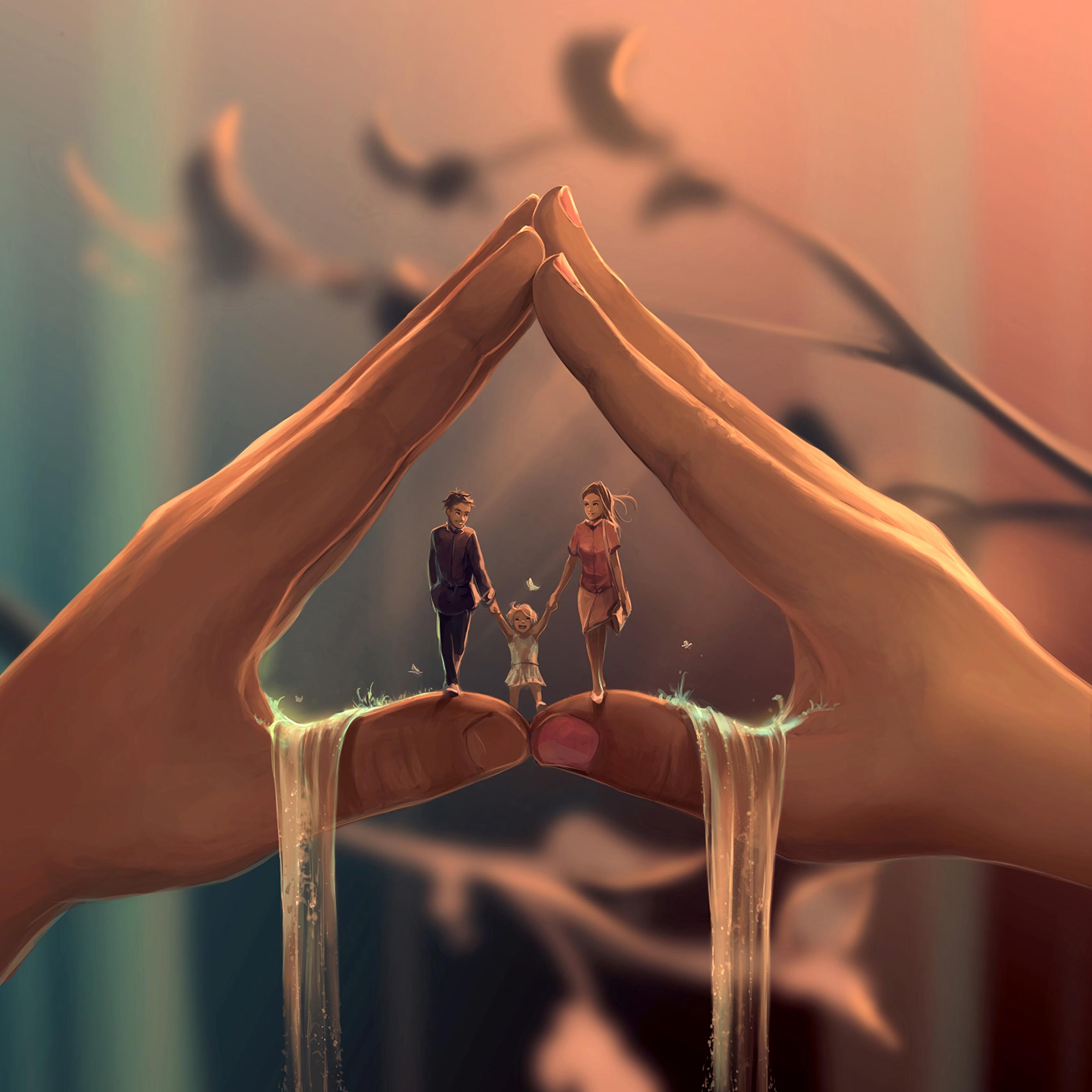 Wallpaper Family, Parents, Child, Happiness, Love, - Cyril Rolando Art - HD Wallpaper