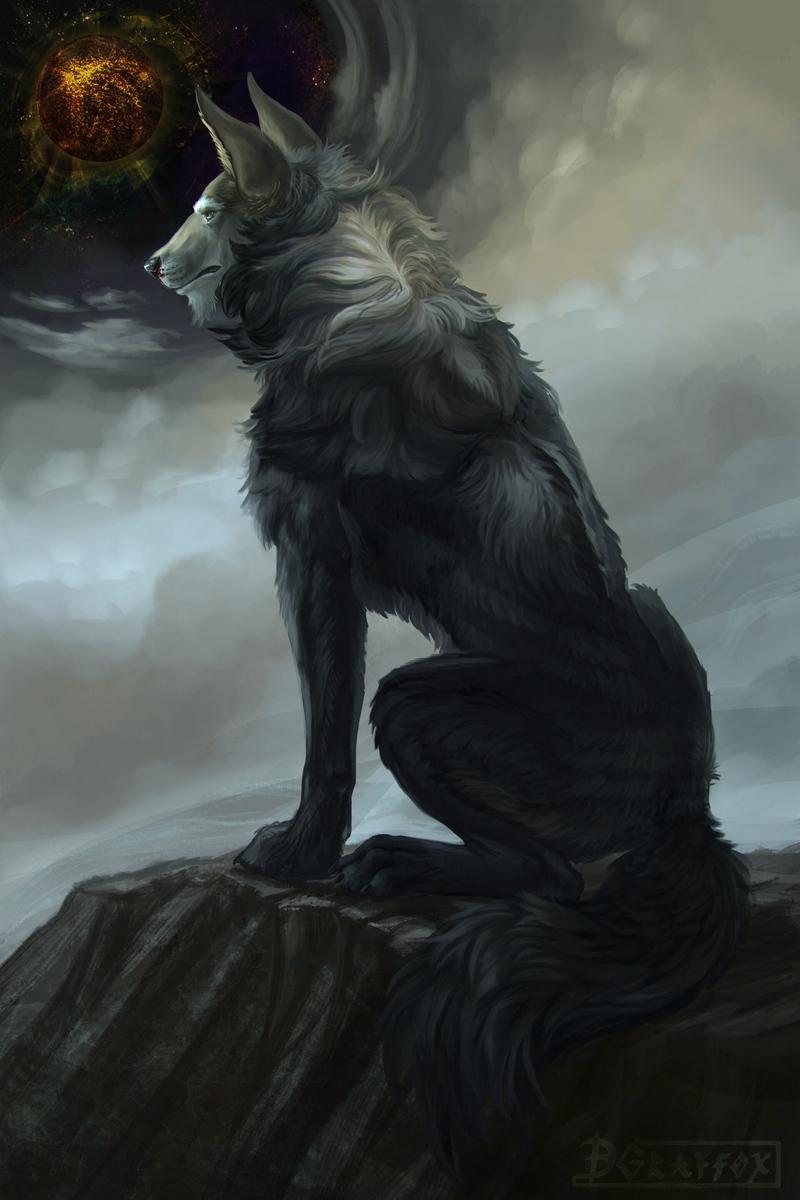 Wallpaper Wolf Art Fantasy Predator Beast Galaxy Mythical Wolf Art 800x1200 Wallpaper Teahub Io