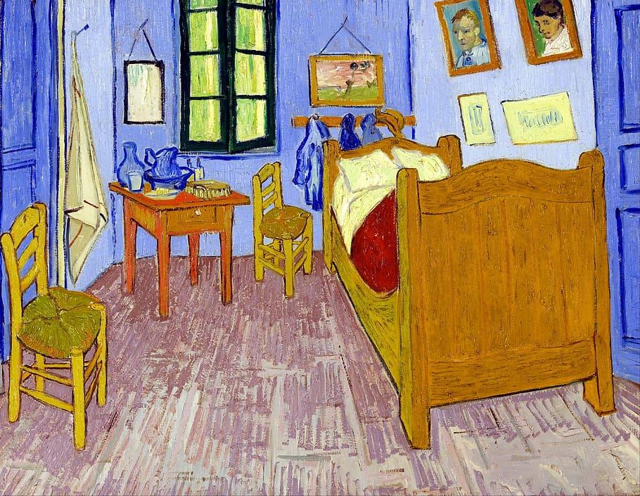 Brown, Purple, Bedroom Set, Post Impressionist, Post - Van Gogh Bedroom In Arles - HD Wallpaper