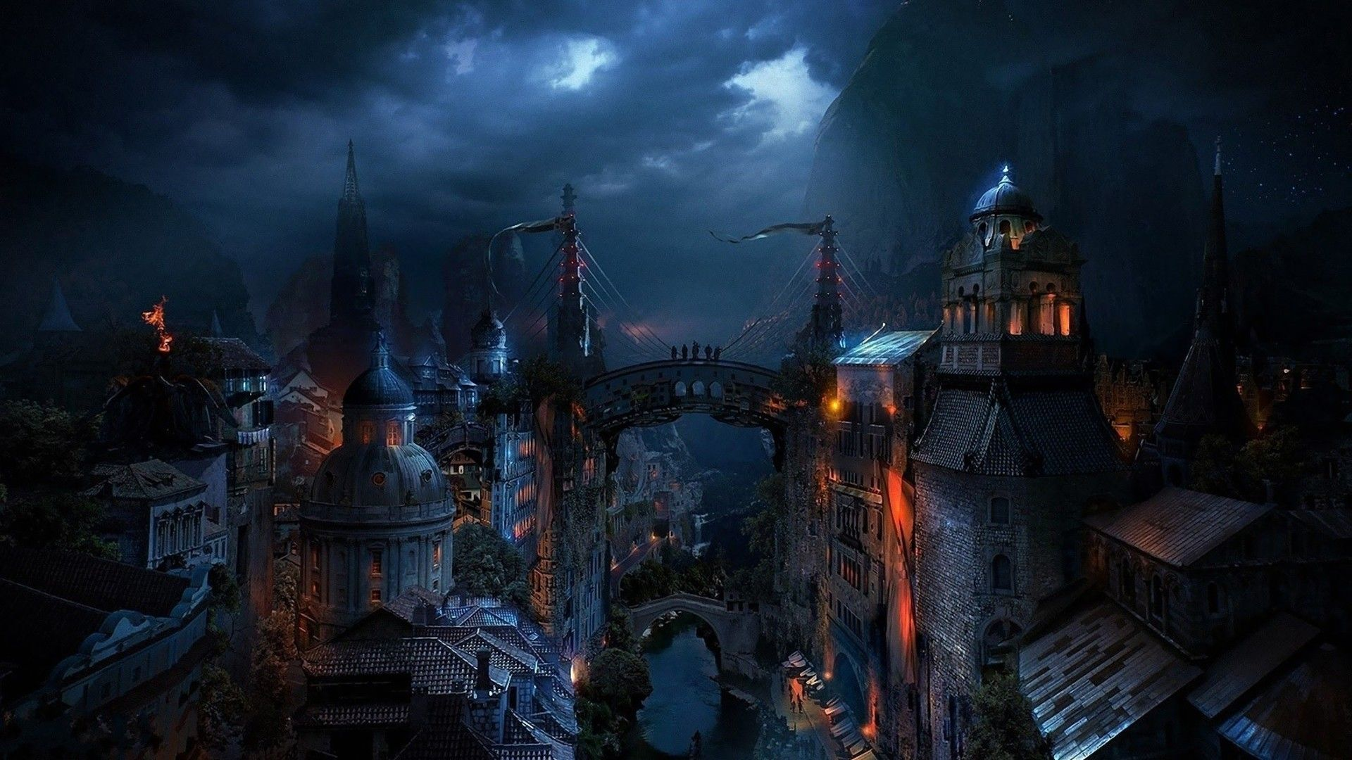 Fantasy Cities Art Hd Wallpaper - Fantasy Dark City - HD Wallpaper