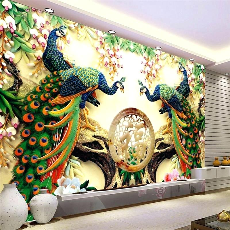 Wholesale Large Painting Home Decor Peacock Green Branches - 3d Wall Painting Design - HD Wallpaper