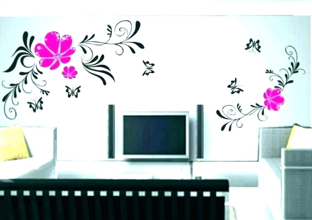 Living Room Stencil Designs For Wall Painting Tree - Simple Room Wall Decoration Ideas - HD Wallpaper