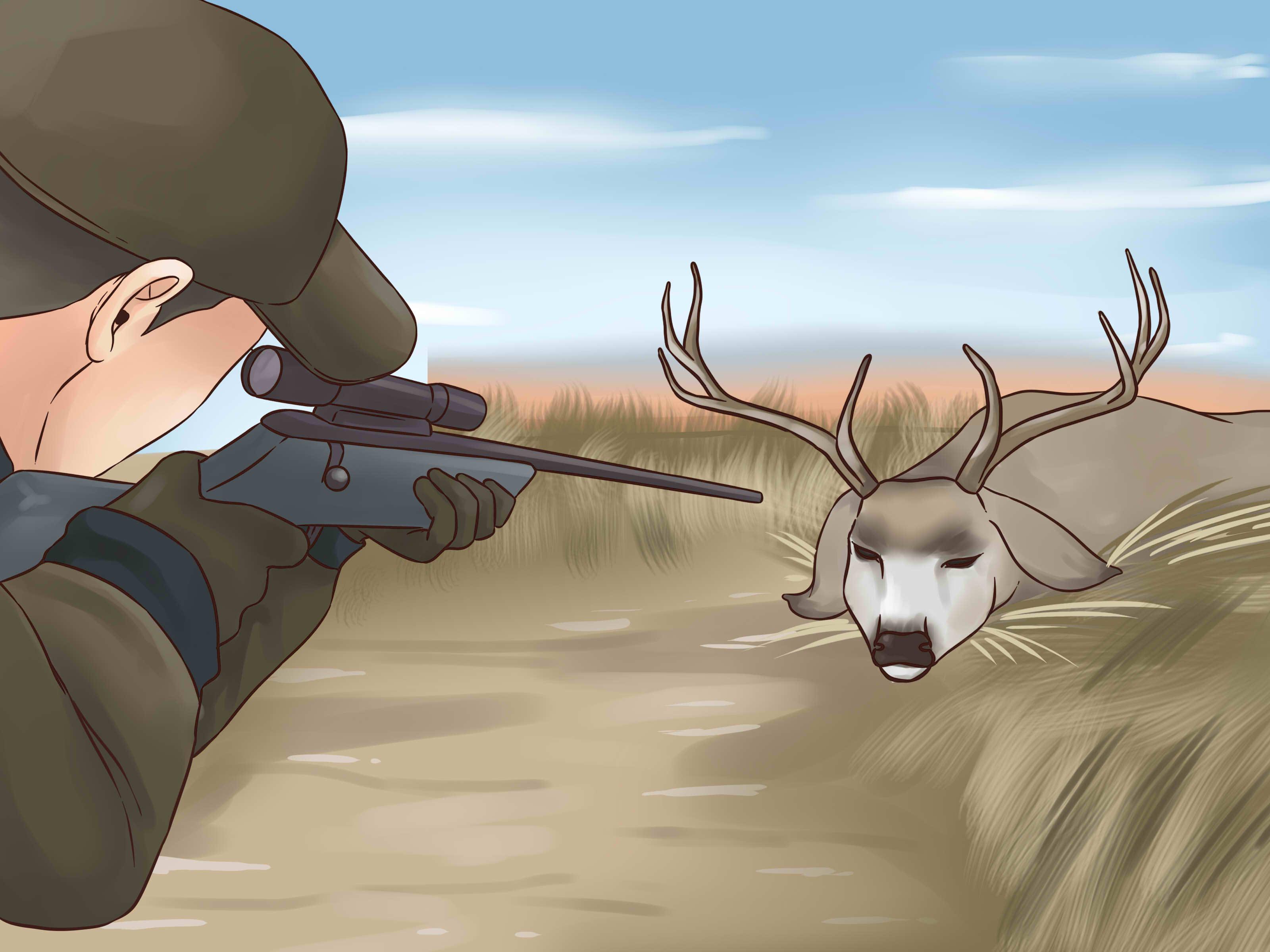 Image Titled Hunt Mule Deer Step - Hunter Shooting A Deer Cartoon - HD Wallpaper