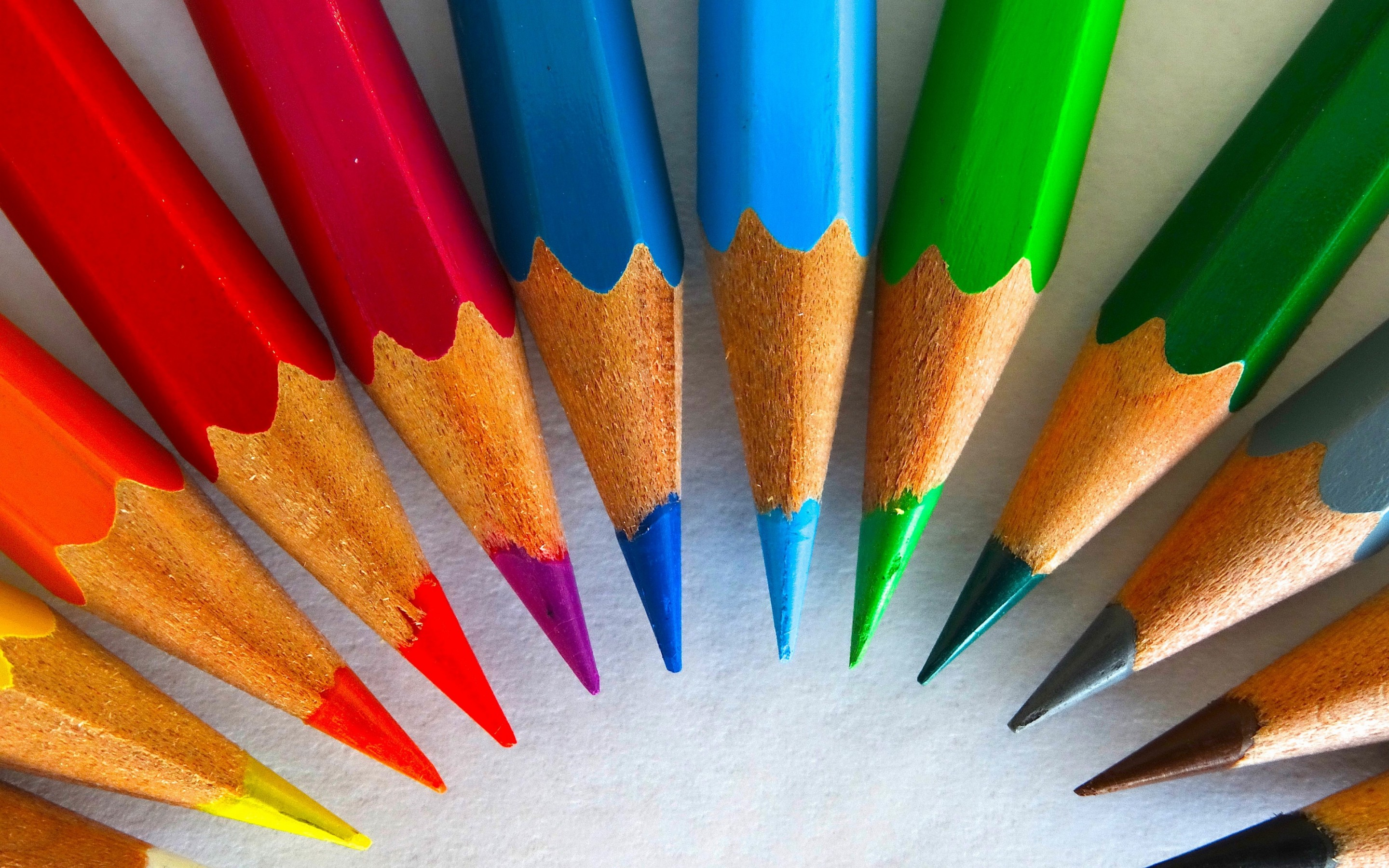 Background Rainbow Colored Pencils - HD Wallpaper