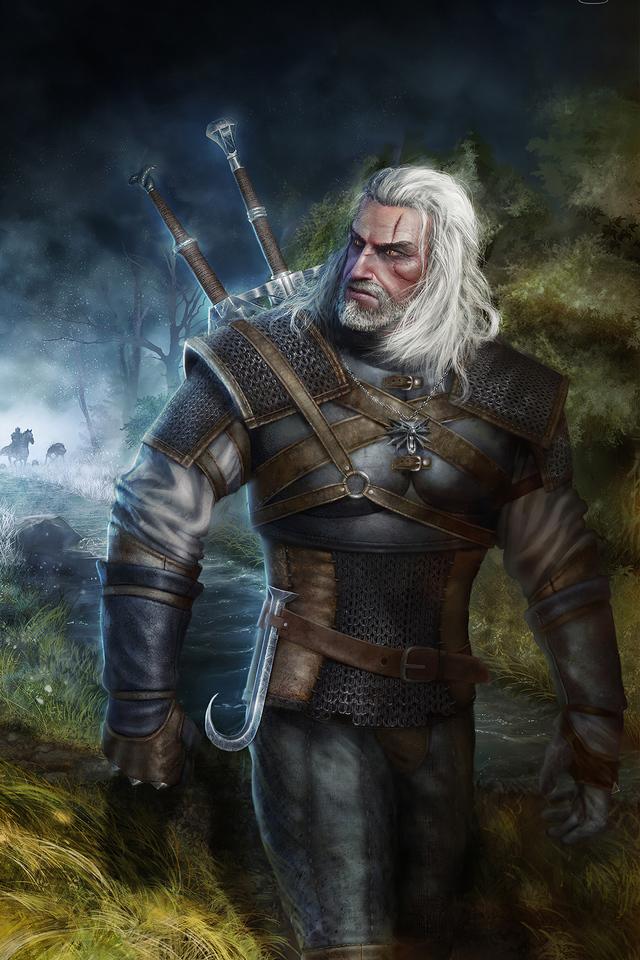 Witcher Geralt Game Art 640x960 Wallpaper Teahub Io