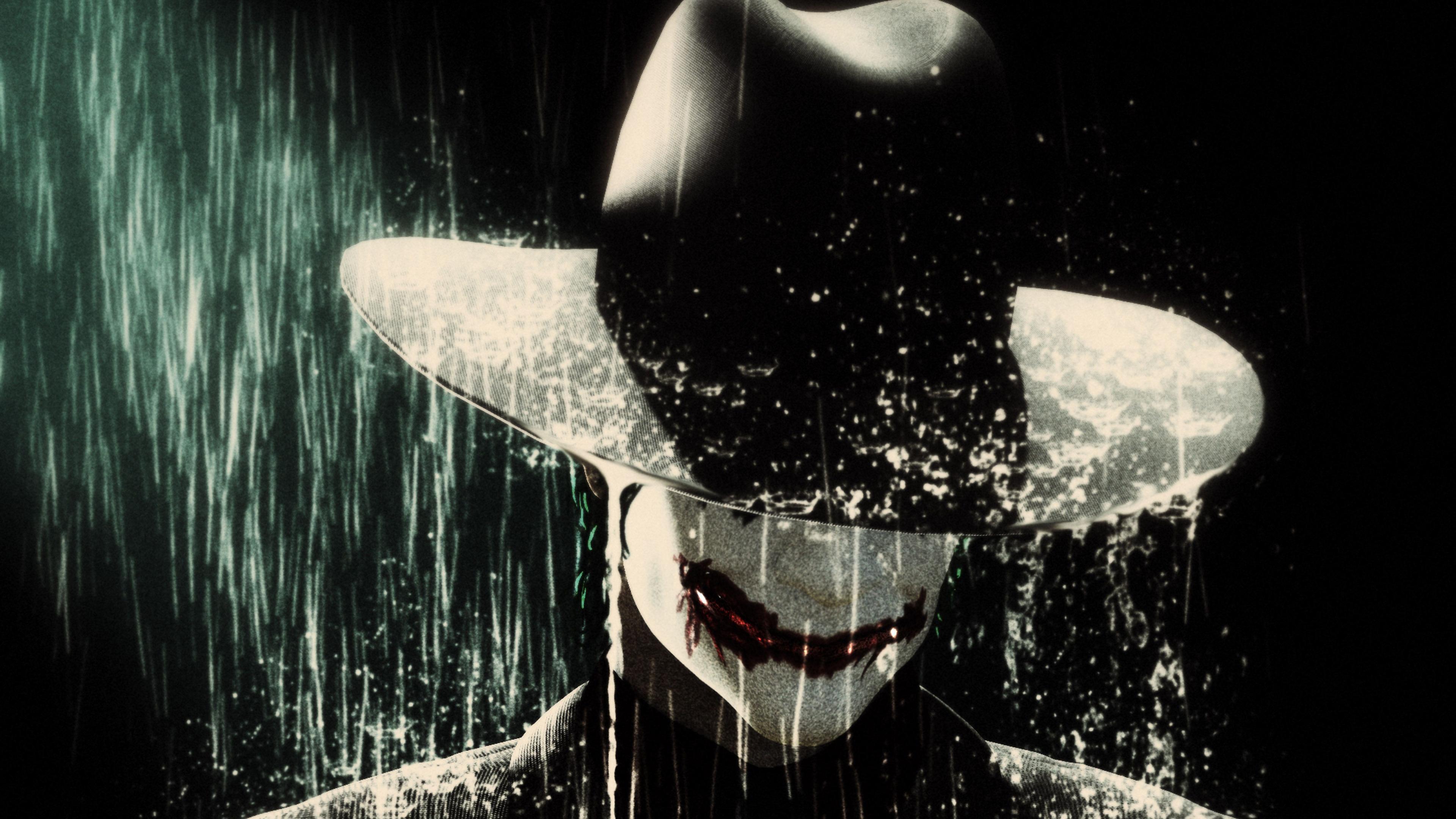 Joker In Rain Wearing Hat 4k 4k Ultra Hd Wallpaper Joker 3840x2160 Wallpaper Teahub Io