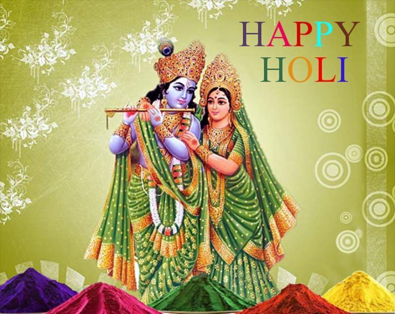Holi 2017 Pics - Happy Holi Images With Lord Krishna - HD Wallpaper