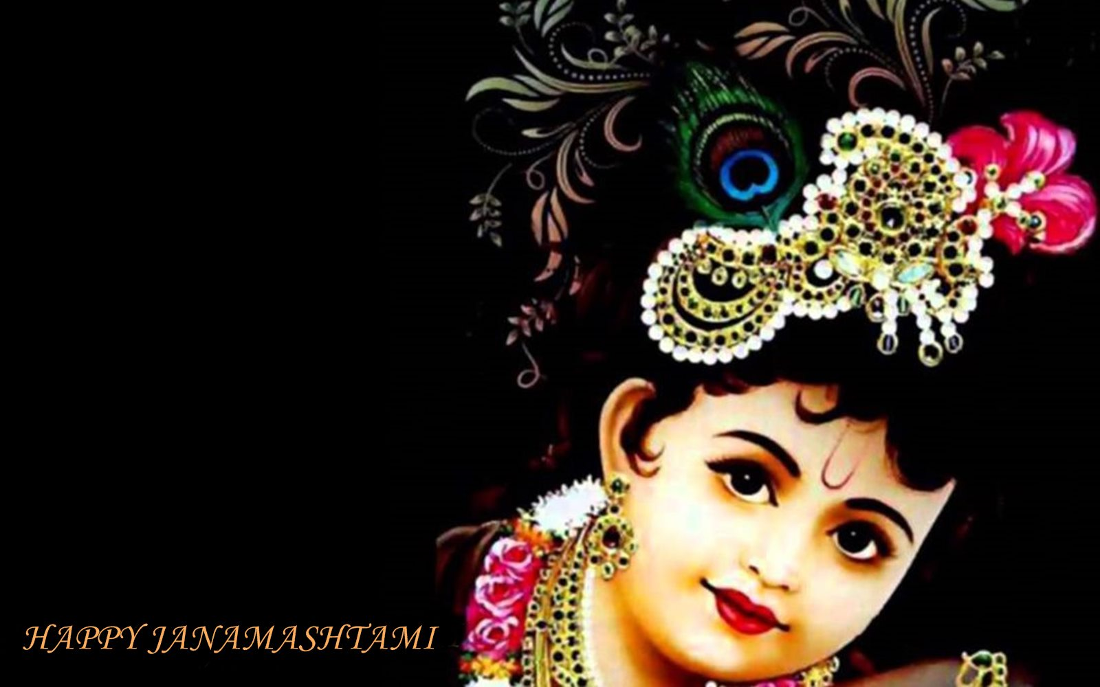 Cute Nandlala Krishna Happy Janmashtami Hd Wallpaper - Happy Cute Krishna Janmashtami - HD Wallpaper