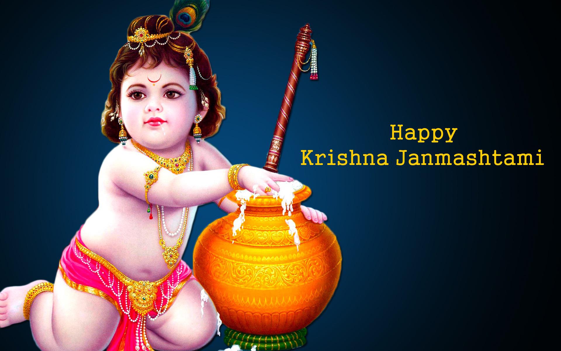 Janamashtami Images Of The Lord Krishna - Happy Krishna Janmashtami 2017 - HD Wallpaper