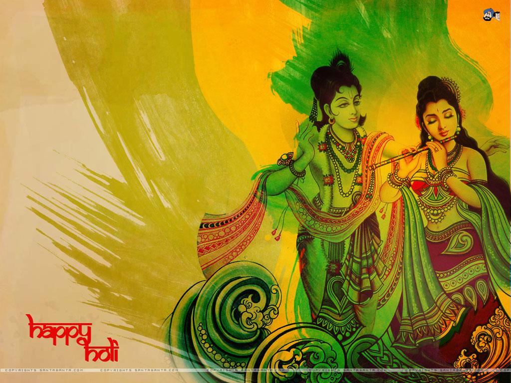 Holi Wallpaper - Beautiful Radha Krishna Holi - HD Wallpaper